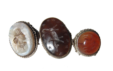 Group of large and attractive ancient-style replica rings