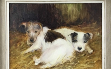 Iris Collett (b. 1938), oil on board, Two terrier dogs, signed, in painted frame. 29 x 39cm.