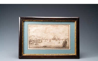 Italian school, 17th C., ink on paper: A view on the bay of ...