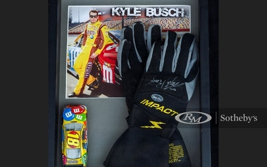 Kyle Busch Worn and Signed Gloves
