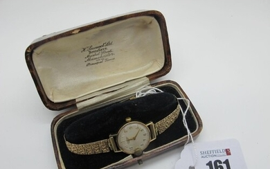 Longines; A 9ct Gold Cased Ladies Wristwatch, the signed dia...