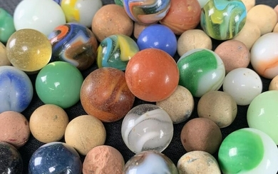 Lot Of 55 Antique Vintage Marbles, Clay, Glass, Etc.