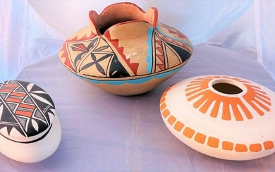 Lot of 3 Native American Indian Bowls