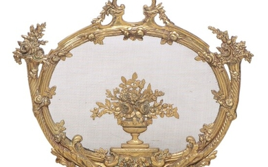 Louis XV Style Cast Brass Firescreen, Early to Mid 20th Century