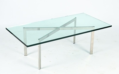 MODERN CHROME AND GLASS COFFEE TABLE