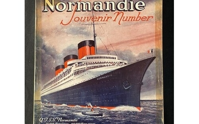 OCEAN LINER: S.S. Normandie soft bound souvenir number of Th...