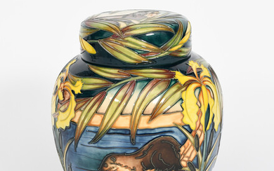 'Otters' a modern limited edition Moorcroft Pottery large ginger jar and cover designed by Sian