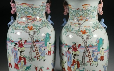 PR OF CHINESE ROULLEAU FLOOR VASES WITH GENRE SCENE