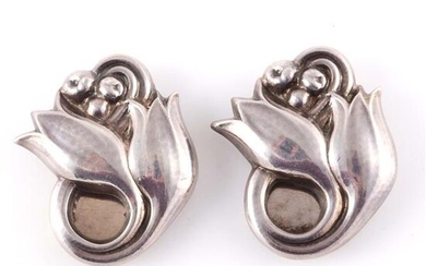 Pair of Georg Jensen sterling silver double flower and