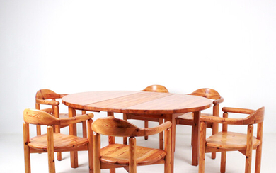 RAINER DAUMILLER. Attributed to. Dining table group: six armchairs and a matching dining table, probably Hirtshals Savværk, Denmark.