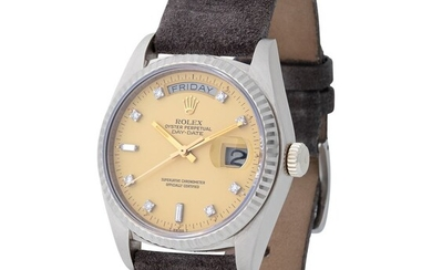 Rolex. Extremely Well Preserved and Rare Day-Date Automatic Wristwatch in White Gold, Reference 18 039, Diamond-set Dial