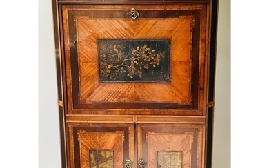 SECRETAIRE A ABATTANT, early 19th century Dutch satinwood an...