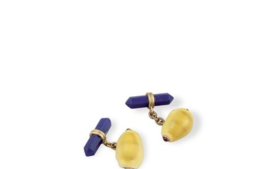 SHELL, RUBY, LAPIS AND GOLD CUFFLINKS