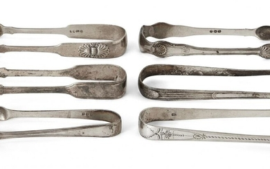 Six pairs of Georgian silver sugar tongs, comprising a William IV pair attractively decorated with bright cut engraving, c.1833, George Bindoff, two pairs with shell shoulders and points, including one Newcastle, c.1827, John Walton and three pairs...