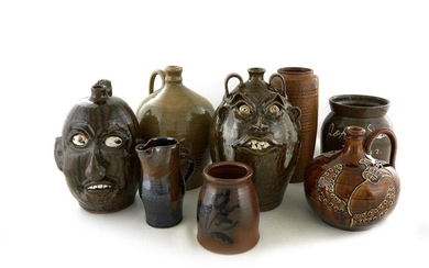 Southern Decorated Stoneware Jugs and Face Jugs, Signed (8pcs)