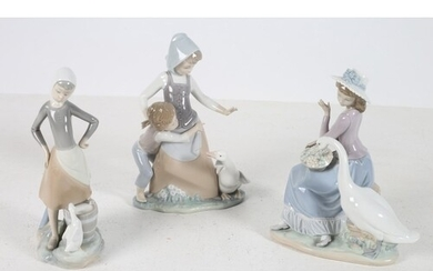 THREE LLADRO FIGURES modelled as young ladies with ducks tog...