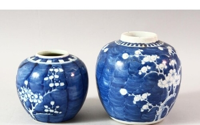 TWO BLUE AND WHITE PRUNUS GINGER JARS, lacking covers,14cm a...
