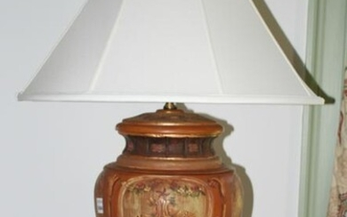Terra Cotta Lamp with Painted Classical Design
