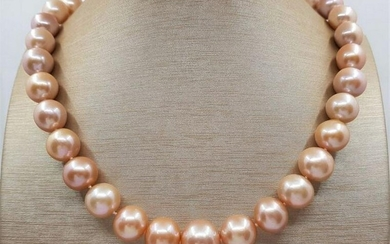 11x13mm Round Pink Edison Freshwater pearls - Necklace