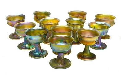 12 Tiffany LCT Favrile Wine Goblets, Iridescence