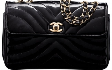 Chanel Black Quilted Patent Leather Flap Bag wit