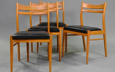 4 Mid Century Modern Dining Chairs - Black Upholstery