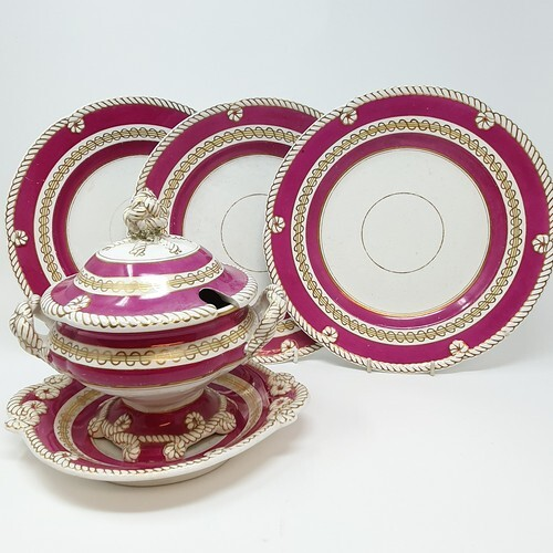 A 19th century part dinner service, with a rope border, puce...