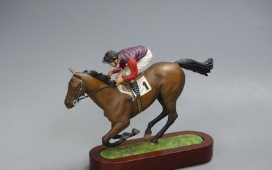 A Cameron Sculptures cold-painted bronze model of a racehors...