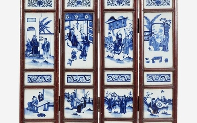 A Chinese blue and white four-panel porcelain screen 中国青花瓷四开屏风