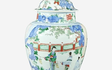 A Chinese wucai-decorated porcelain large jar and cover
