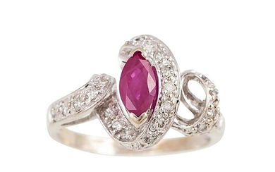 A DIAMOND AND RUBY CLUSTER RING, the oval ruby to twist diam...