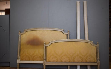 A LATE 19TH CENTURY FRENCH LOUIS XVI UPHOLSTERED & PAINTED BED (A/F) (BEDHEAD 120H x 147W CM) (LEONARD JOEL DELIVERY SIZE: LARGE)