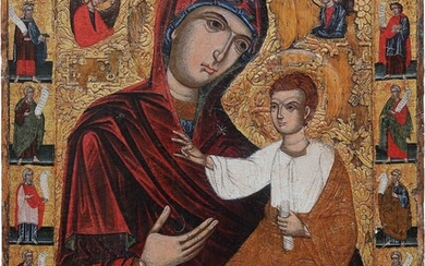 A MONUMENTAL ICON SHOWING THE HODIGITRIA MOTHER OF GOD FLANKED...