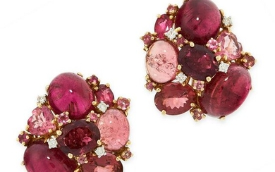 A PAIR OF PINK TOURMALINE AND DIAMOND EARRINGS in high