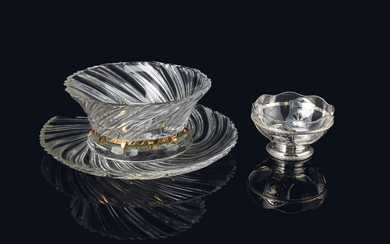 A SILVER LINED FRUIT BOWL AND A GLASS PUNCH BOWL