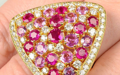A brilliant-cut diamond, ruby and pink sapphire triangular-shape cocktail ring.