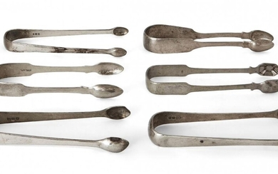 A group of six monogrammed Georgian silver sugar tongs, comprising a pair of George IV tongs, Newcastle, c.1820, John Walton; a pair of George III tongs with reeded edge, c.1797, William Eley & William Fearn; and a further four examples, various...