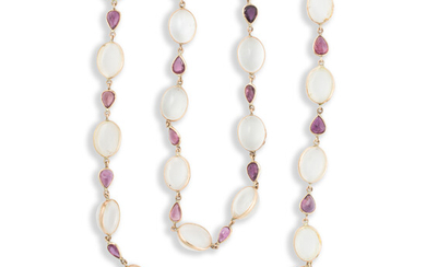 A moonstone, ruby and fourteen karat gold convertible necklace
