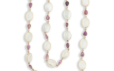 A moonstone, ruby and fourteen karat gold convertible