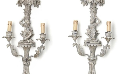 A pair of 20th century Italian Baroque style grey painted wooden wall lamps. H. 67 cm. (2) – Bruun Rasmussen Auctioneers of Fine Art