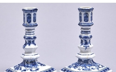A pair of Meissen hexagonal blue and white Onion pattern can...