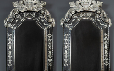 A pair of Venetian style wall mirrors