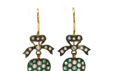 A pair of silver and gold, emerald, diamond and split pearl drop earrings