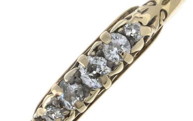 An early 20th century 18ct gold old-cut diamond five-stone ring.