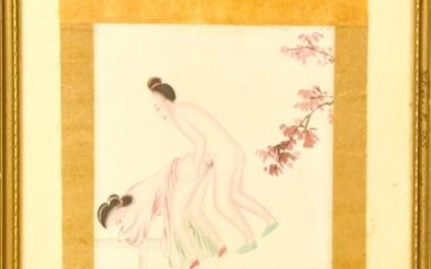 Antique Chinese Erotic Scene Watercolor Painting