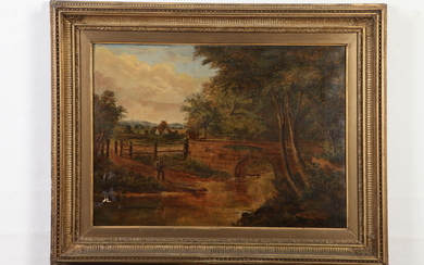 BRITISH SCHOOL (19th Century). Country Landscape, Oil on Canvas. Signed...