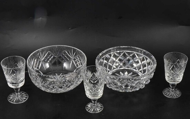 Collection of cut glass, including stem ware, fruit bowls, etc.