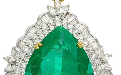 Colombian Emerald, Diamond, Gold Enhancer-Pendant-Brooch Stones: Pear-shaped emerald weighing...