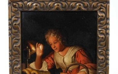 Continental School, 19th century oil on copper, studying an egg by lamp light, 20 x 17cm, framed