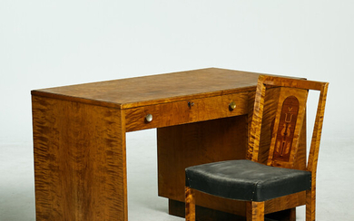 DESK, and CHAIR , Art deco, 1920s / 30s, marquetry details, birch.
